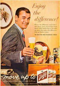 Wisconsin: 1961 Ad Vintage Schlitz Beer Cans Pilsner Glass Milwaukee Beverage Alcohol Drink. Vintage Advertisements, Vintage Ads, Vintage Posters, Beer Poster, Poster Ads, Schlitz Beer, Beer Art, Best Ads, Old Ads