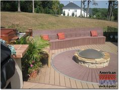 Baltimore, MD - Masonry Firepit - (2) color decking. Starbust circle pattern.