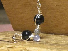 AA Grade Natural Tanzanite AA Grade Natural Onyx Wire Wrapped Earrings
