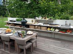 Außenküche funktionale Abgrenzung Garten Ausstattung multifunktionell Windschutz-Sichtschutz