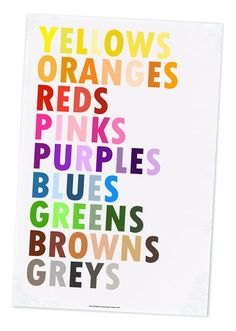 Colors in English poster by Grace Hester.
