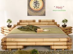 Bamboo Bed Frame, Bamboo Sofa, Bamboo Furniture, Bed Furniture, Furniture Design, Bed Frame Design, Bedroom Bed Design, Japanese Bed Frame, Bamboo House Design