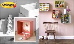 Recicla las cajas que tengas y conviértelas en parte de la decoración como una opción para ayudar al medio ambiente.