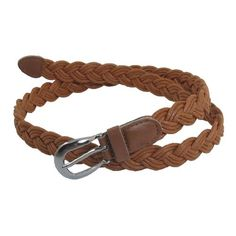 Allegra K Women Brown Single Prong Buckle Braided Faux Leather Waist Belt - Brought to you by Avarsha.com
