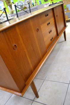 Mid-Century Modern Teak Sideboard - 4 Drawers (1 divided for flatware)