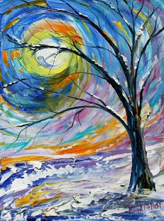 Winter Landscape Painting Original oil on canvas impressionistic palette knife fine art by Karen Tarlton