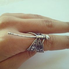 Last One- Dragonfly Adjustable Wrap Ring- Whimsical Silver Plated Brass Filigree Detailed Dragon Fly 4 5 6