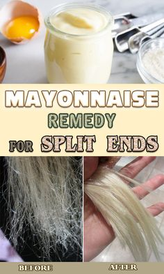 Mayonnaise Remedy for Split Ends Split ends can be very annoying when you wish to have a beautiful and shiny hair. Due to pollution, excessive sun exposure, dust or use of too many hair styling products your hair may get damaged at a Mayonnaise Hair Mask, Mayonnaise Hair Treatments, Hair Mask For Damaged Hair, Dry Damaged Hair, Hair Masks, Damaged Hair Repair Diy, Egg Hair Mask, Split End Remedy, Curly Hair