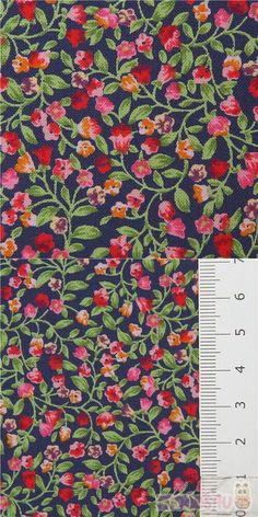 navy blue cotton fabric with small flowers in red, orange etc., with small leaves, Material: 100% cotton, Fabric Type: strong cotton printed shirting fabric #Cotton #Flower #Leaf #Plants #JapaneseFabrics