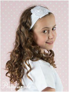 (EM-10) Passend zur Kommunion! Stirnband in schneeweiß - Princessmoda - Alles für Taufe Kommunion und festliche Anlässe