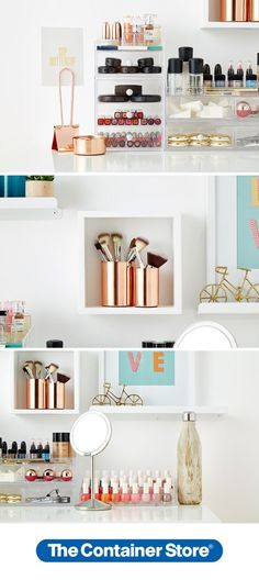 Create a makeup station worthy of the spotlight. We used Copper Magnetic Desk Accessories to hold makeup brushes and add a glamorous touch. Our Clarity Stackable Makeup Storage Collection lets you create a storage solution customized to your collection of makeup. A Display Cube hung with Command Strips draws attention to the gorgeous copper canisters and makes your makeup supplies look like art.