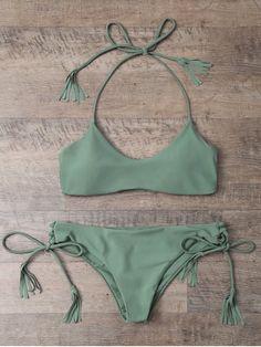 Tasselled Halter Bikini Set - ARMY GREEN M