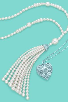 Tiffany & Co. Ziegfeld Collection pearl tassel necklace and daisy locket in sterling silver. #TiffanyPinterest