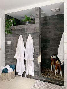 Wood Tile Shower, Tile Walk In Shower, Master Bathroom Shower, Small Bathroom, Wood Bathroom, Tile Bathroom Floors, Hidden Shower, Walk Through Shower, Tiled Showers