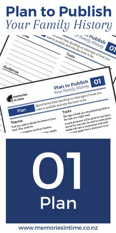 01 Plan - Spend some time deciding what type of book you want to publish and who the book is for. Family History Book, Types Of Books, Genealogy Research, What Type, Family Reunions, How To Get, How To Plan, Your Family, Getting Organized