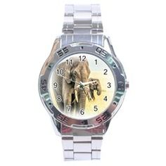 Animal Elephant Stainless Steel Analogue Men's Watch by WordArtGift