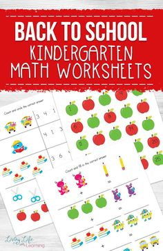 Practice number sense, skip counting, adding and subtracting with these back to school kindergarten math worksheets your kids will love.  #homeschoolkindergarten #homeschool #kindergartenmath #LivingLifeandLearning