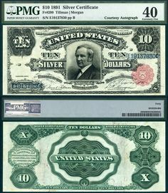 US 1891 $10 Silver Certificate Tombstone Note PMG EF40 PRLIPL 01-08-2014 CAA