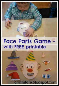 Craftulate: Face Parts Game -- LOVE this! What a neat thing to do with toddler at the table.: