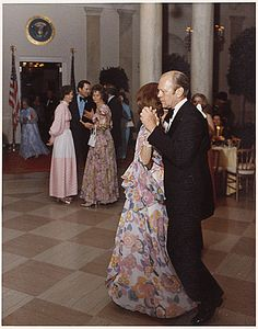 Photograph of President Gerald Ford and First Lady Betty Ford Dancing, Following the Departure of Prime Minister and Mrs. Lee Kuan Yew of Singapore from a State Dinner Held in Their Honor, 05/08/1975