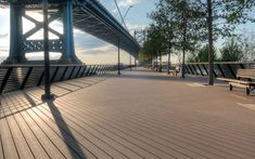 Durable #Trex Accents #decking in Saddle adds a touch of elegance to this city park.