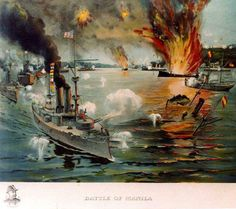 Battle of Manila Bay, 1 May 1898. Contemporary colored print, showing USS Olympia in the left foreground, leading the U.S. Asiatic Squadron in destroying the Spanish fleet off Cavite.