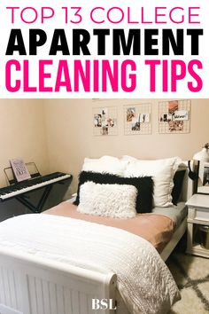 these college apartment cleaning tips are so smart. I just recently moved into my first apartment and really want to keep it clean and organized. I've never been very good at keeping my room consistently clean so this was super helpful!! College Apartment Bathroom, First Apartment Tips, First Apartment Essentials, Apartment Needs, Apartment Checklist, Apartment Hacks, Apartment Cleaning, Apartment Bedroom Decor, Apartment Kitchen