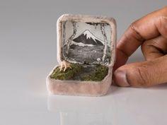 Put a Miniature Diorama On It: Amazing Tiny Ring Box Art Vintage Ring Box, Vintage Rings, Old Rings, Antique Rings, Antique Jewelry, Altered Tins, Altered Art, Art Matchbox, Art Altéré