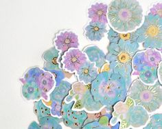 Turquoise Purple Flowers Gold Foil Washi Stickers, Sticker Set - STK174