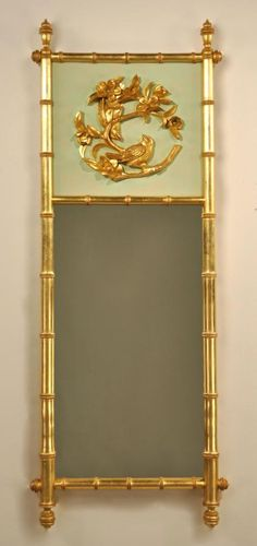 18x46 Plum Blossoms With Finches Mirror | Carvers' Guild