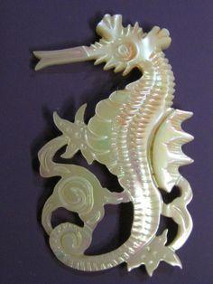 ButtonArtMuseum.com - Stunning Sea Horse MOP Shell Artisan Button