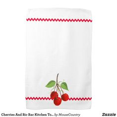 Cherries And Ric Rac Kitchen Towel by MousefxArt.Com (Mousefx Zazzle Store)l