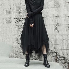 Women's Skirt Multi-layer Asymmetric Length Loose Casual Mesh for Winter Autumn black L Mode Outfits, Girly Outfits, Dance Outfits, Skirt Outfits, Fashion Outfits, Fashion Trends, Pleated Midi Skirt, Dress Skirt, Lolita Gothic