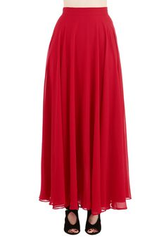 Smile Be Seeing You Skirt. Your look is as bright as your grin when this scarlet maxi skirt is the star of your ensemble! #red #modcloth