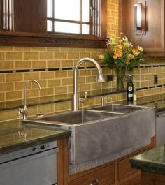 Mesmerizing Brown Backsplash Tile Paired With Brown Farmhouse Kitchen Sink Also Wooden Framed Windows