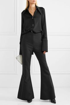 9b3e36ae9559 Black silk-blend satin Button fastenings through front 92% silk, 8% Lycra