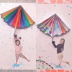우산종이접기 Kindergarten Art, Preschool Art, Art Activities, Toddler Activities, Diy Home Crafts, Arts And Crafts, Weather Seasons, Group Art, Up Book