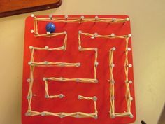 Nail maze for marble - Nail maze for marble - Sand Crafts, Diy And Crafts, Crafts For Kids, Kids Barn, Woodworking Projects For Kids, Arts And Crafts Movement, String Art, Textiles, Crafty