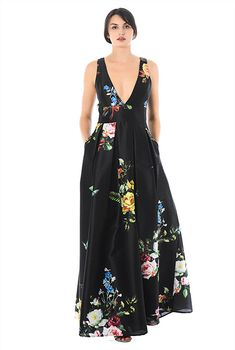 Plunge floral print dupioni dress-CL0056278