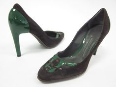 NEW PROENZA SCHOULER Green Patent Leather Brown Suede High Heel Pumps Shoes 6 $109.00