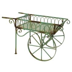 Beatrix Garden Cart In Green   Fill This With Flowers Perfect For That  Special Garden Centerpiece