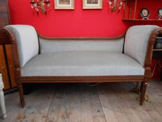 Pretty #bench #LouisXVI style in #walnut. Covered with blue velvet fabric. Late #19th century. For sale on Proantic by Alexia Gardey de Soos.