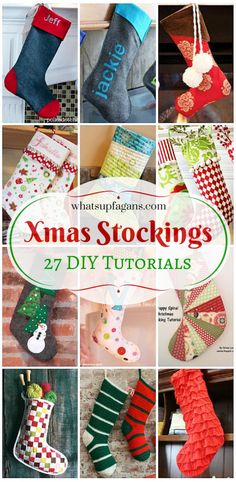 27 Awesome DIY Homemade Christmas Stockings Tutorials for beginners on up! I love handmade stockings. What a great craft idea.