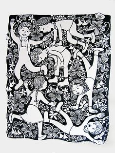 Leo Politi: garden with children playing. I have a signed copy of this one. It reminds me of playing with the neighbor kids when I was little <3