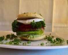 Low Carb Burger Gluten-Free - Coconut Flour Bun, Avocado Mousse, Onion, Romano Salad, Chicken Breast, Tomatoe, Mozzarella