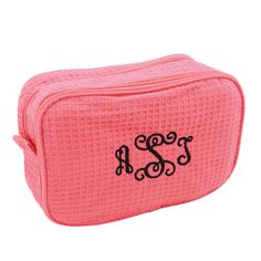 Hot Pink Waffle Cosmetic Bag