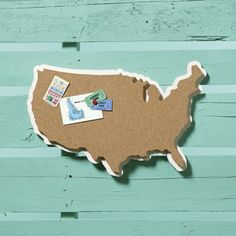 Map shaped Corkboard. Something I could make myself maybe? Could put up photos and tickets from trips we take...  cork U.S.A. wall board  | CB2