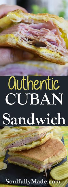 An Authentic Cuban Sandwich is a gloriously grilled sandwich filled with ham, pork, Swiss cheese, pickles, and yellow mustard on Cuban bread! Grill Sandwich, Croissant Sandwich, Hot Sandwich Recipes, Cubano Sandwich, Salami Sandwich, Panini Recipes, Gourmet Sandwiches, Sandwich Fillings, Cuban Pork Sandwich