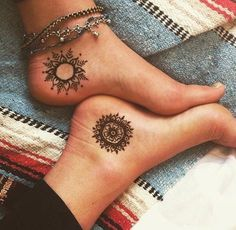 Sun and moon tattoos in Henna Style for couples