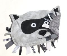 RACCOON Woodland Animal Ribbon Tag Baby Blanket Flannel and Silver Gray Minky Blankie Lovey Lovie Baby Gift